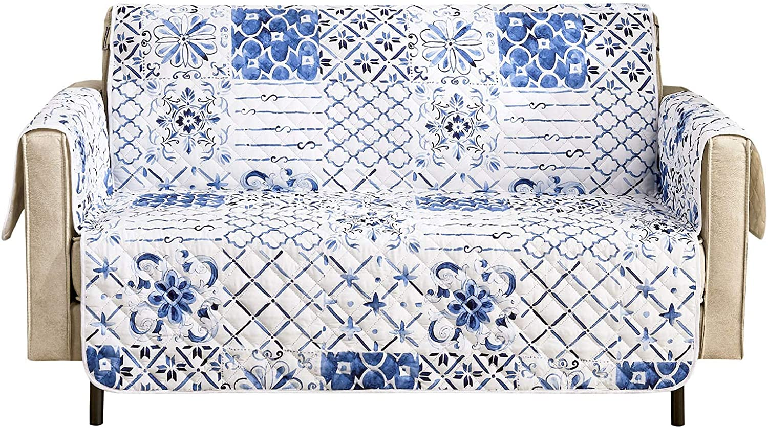 """Wake In Cloud - Sofa Cover 100% Waterproof Non-Slip, Pets Dogs Cats Kids Furniture Protector 3 Cushion Couch Slip Cover, Elastic Strap, Blue White Moroccan Tiles Mosaic Patchwork (70"""" Sofa)"""