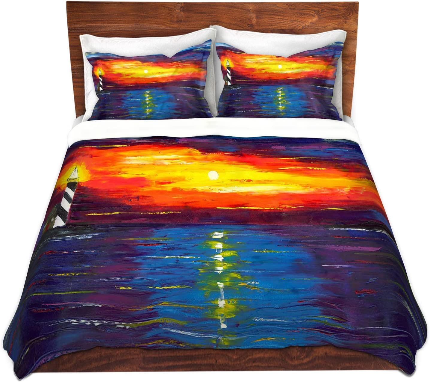 Duvet Cover Brushed Twill Twin, Queen, King Sets DiaNoche Designs by Jessilyn Park - Sunset at Lighthouse Bedroom and Bedding Ideas