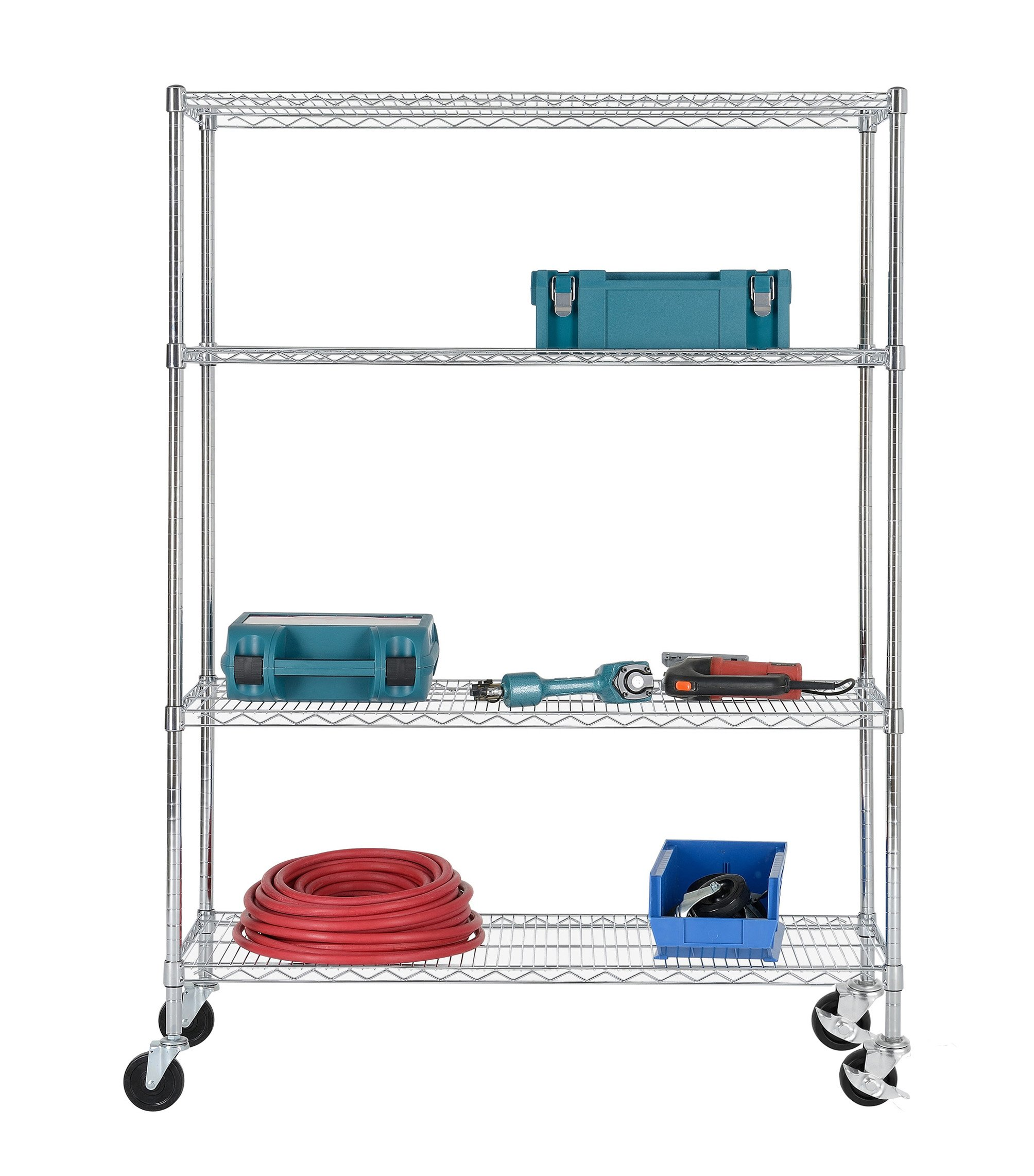 Excel ES-481860C-W NSF Multi-Purpose 4-Tier Wire Shelving Unit with Casters, 48'' x 18'' x 65'', Chrome
