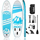 Roc Inflatable Stand Up Paddle Board W Free Premium SUP Accessories & Backpack, Non-Slip Deck. Bonus Waterproof Bag…