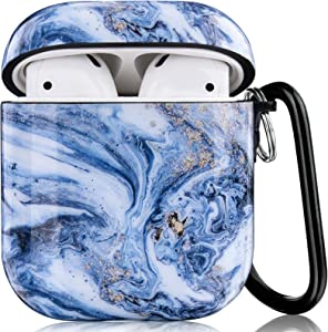 CAGOS Compatible with Airpods Case, 3 in 1 Cute Marble Protective Hard Case Cover Portable & Shockproof Women Girls with Keychain/Strap/Earhooks for Airpods 2/1 Charging Case (Bright Blue)