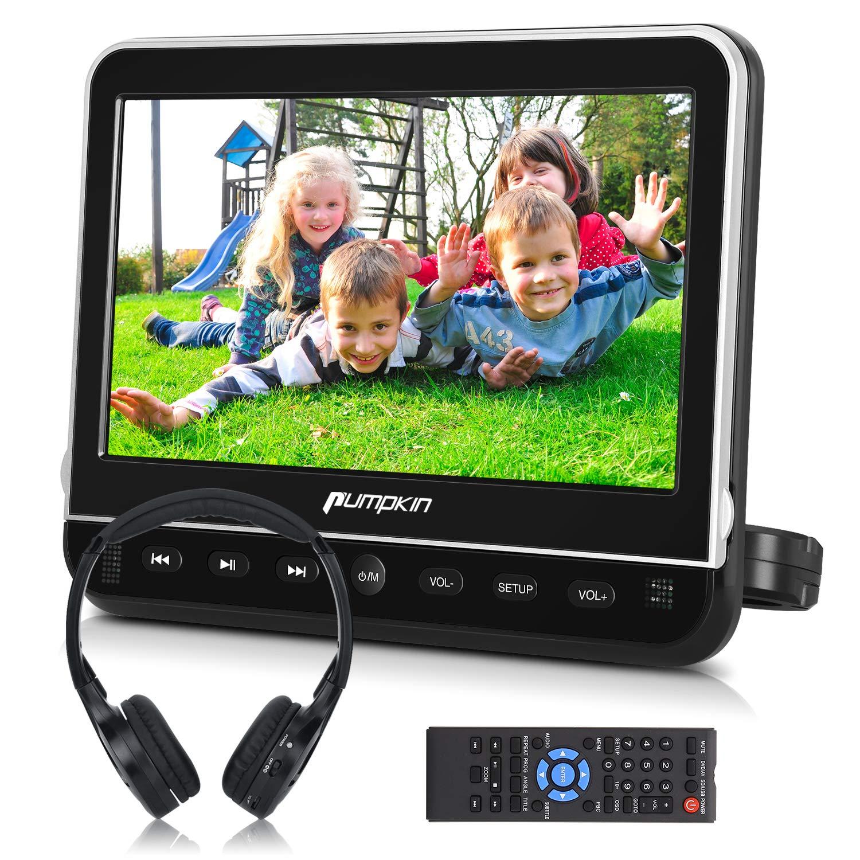 PUMPKIN 10.1 Inch Car Headrest DVD Player with Headphone, Support HDMI Input, 1080P Video, Region Free, Sync Screen, USB SD by PUMPKIN