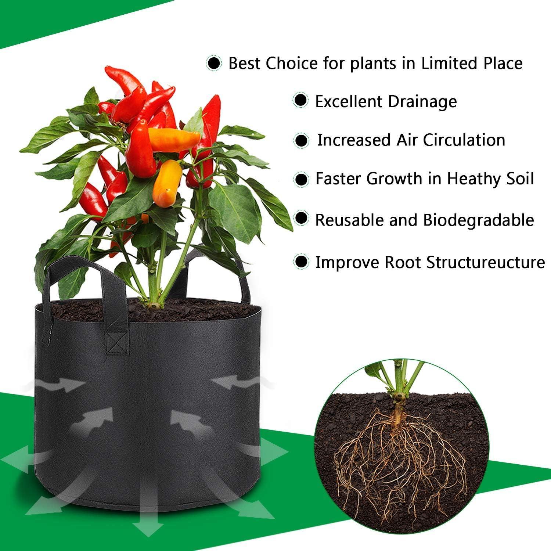 PEYOU 5X 30l Saco para Plantas, Bolsa de Cultivo de Plantas de ...