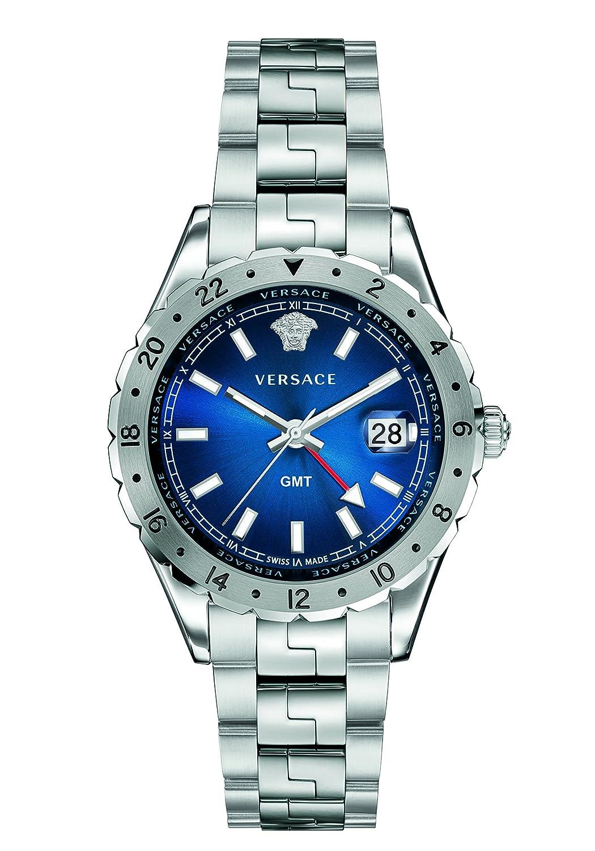Versace Men s V11010015 HELLENYIUM GMT Analog Display Swiss Quartz Silver Watch