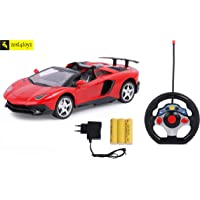 Zest 4 Toyz 1:18 Scale Steering Remote Lamborghini Rechargeable Remote Control Toy Car with Openable Doors and Boot (Assorted)
