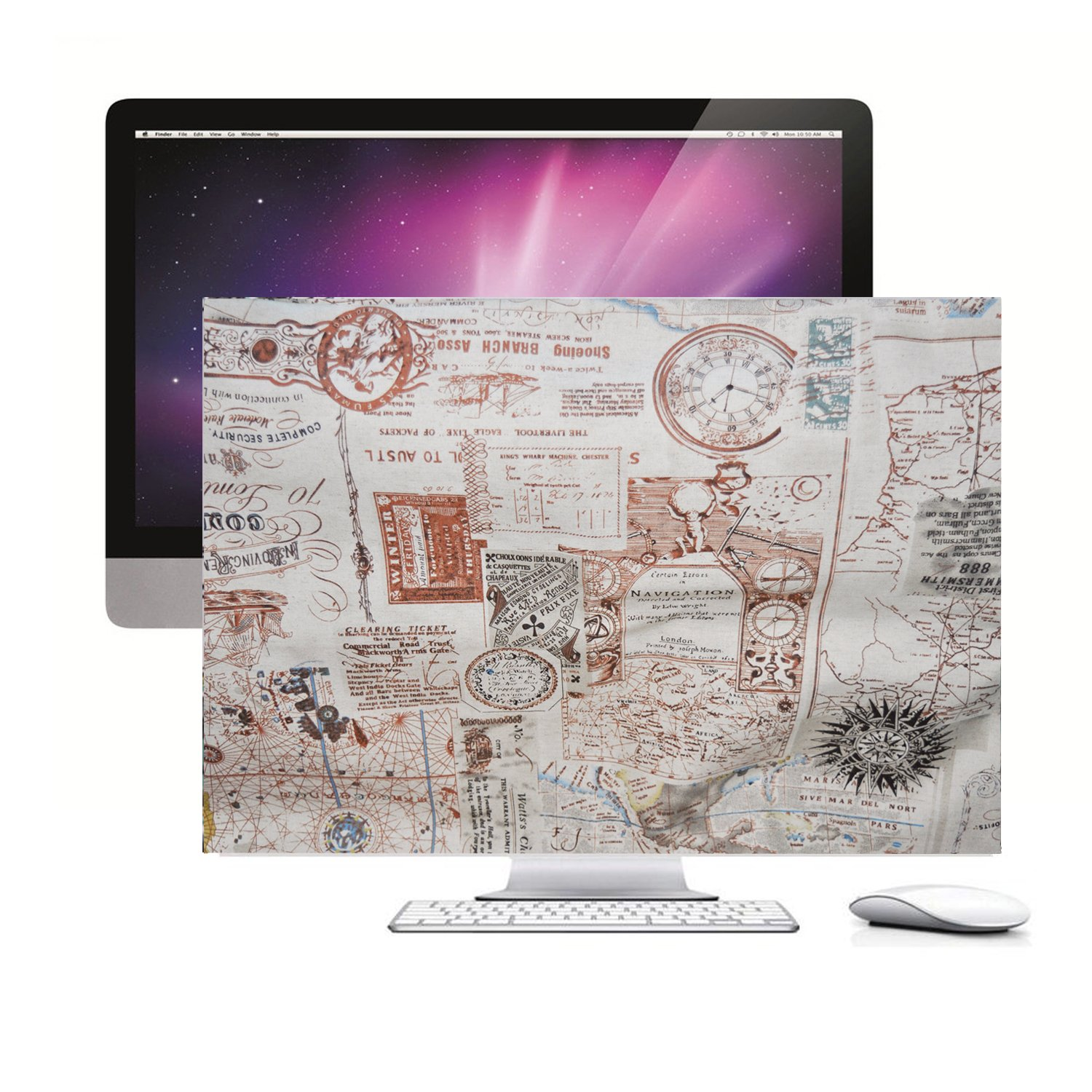 Screen Monitor Protector Guard Travel around the world,HAND MADE Padded velvet Dust Cover for Apple iMac 27-inch