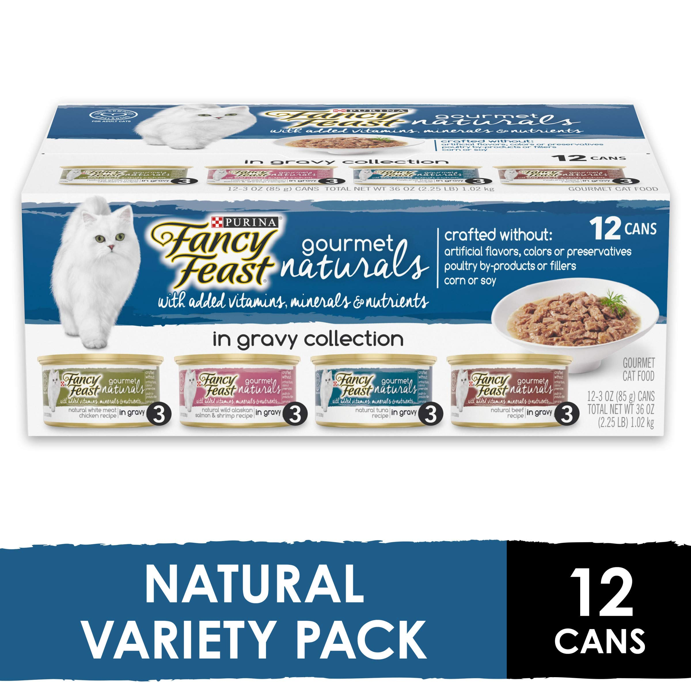 Purina Fancy Feast Natural Gravy Wet Cat Food Variety Pack, Gourmet Naturals in Gravy Collection - (2 Packs of 12) 3 oz. Cans by Purina Fancy Feast