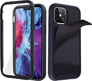MONCABILE Stick on The Wall Phone Case That Sticks to Anything -[Drop Protection] Built in Screen Protector Anti Gravity Sticky Phone Case for iPhone 12/Pro (Black)