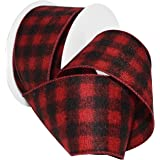 "Morex Ribbon 7457.60/10-613 Red/Black Wired Buffalo Plaid Ribbon, 2-1/2"" x 10 yd, Acryllic"
