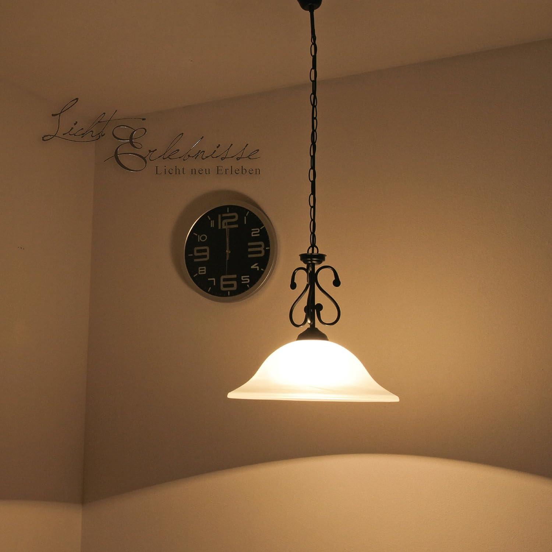Mattschwarze LED Energiespar-Hängeleuchte 6 Watt mit Alabasterglas Deckenlampe Landhausstil