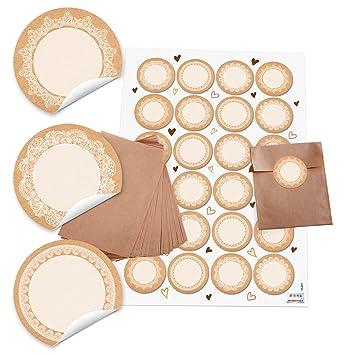 10 bolsas de papel pequeñas marrón 8,5 x 13 cm + 24 redondas ...