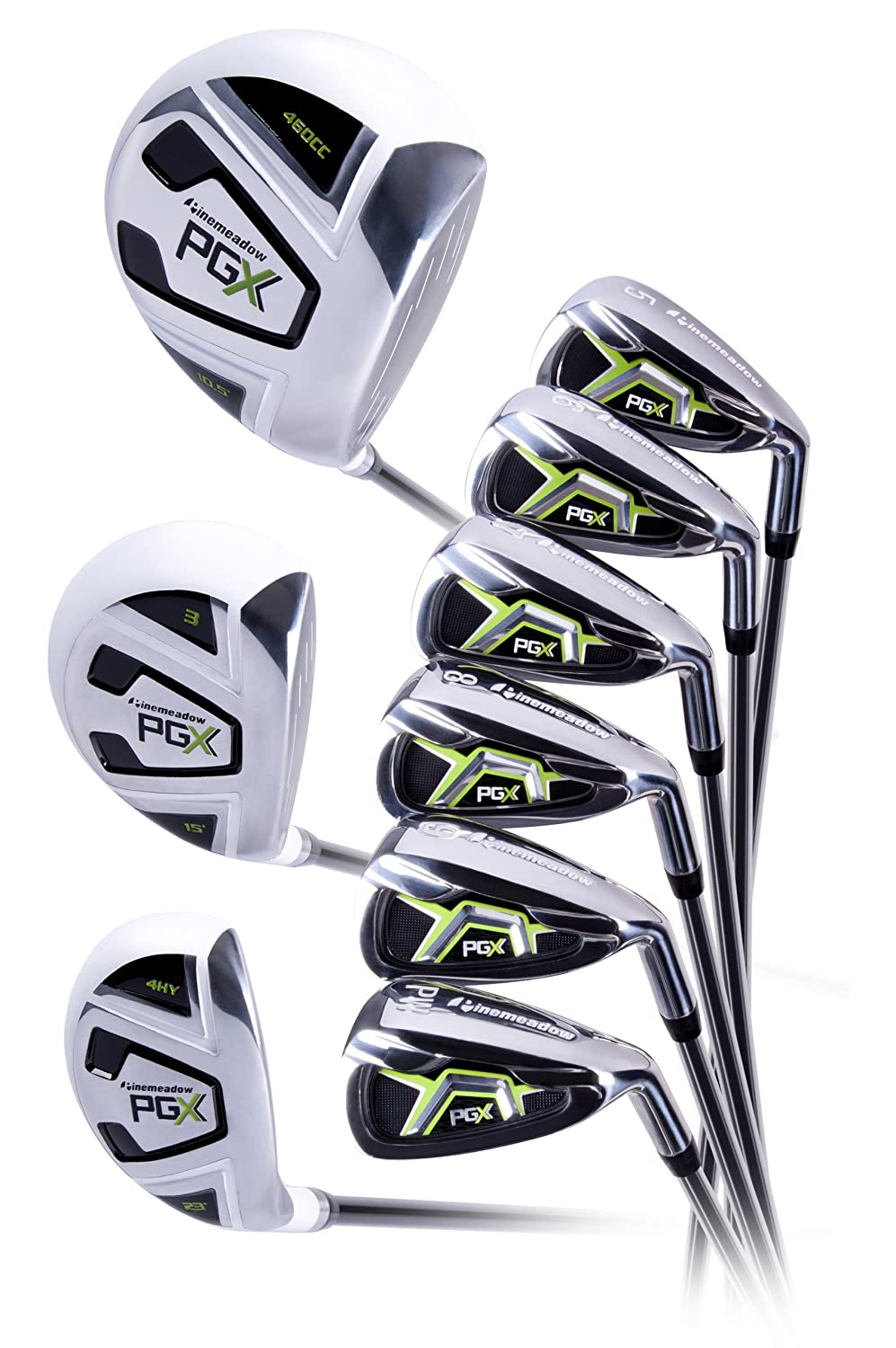 Pinemeadow Mens PGX Golf Set-Driver, 3 Wood, Hybrid, 5-PW Irons (Regular Flex)