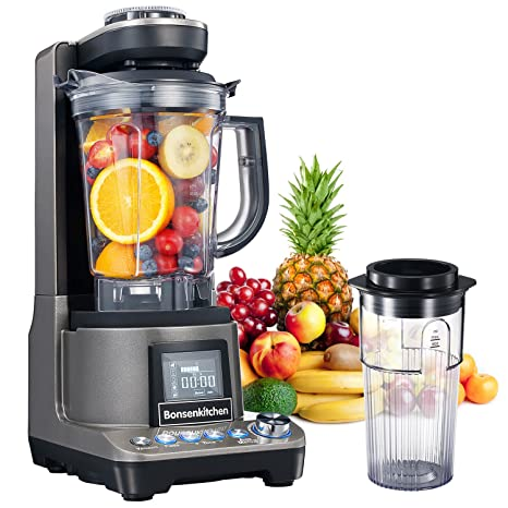 Bonsenkitchen High Speed Vacuum Blender, Multifunctional Food Processor and Smoothie Blender, 1500W Powerful Anti-Oxidation Mixer for Smoothies, ...