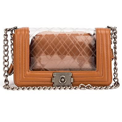 fab6532bdf36 Amazon.com  Vintage Clear Quilted Pu Leather Chain Strap Tote Shoulder  Handbag for Women (Brown)  Shoes
