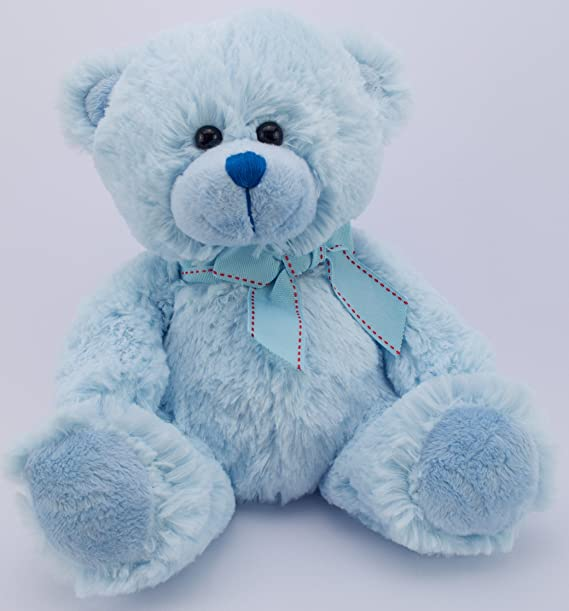 Teddy bear 11inch soft toy traditional plush blue teddy bear with teddy bear 11inch soft toy traditional plush blue teddy bear with bow amazon toys games altavistaventures Images