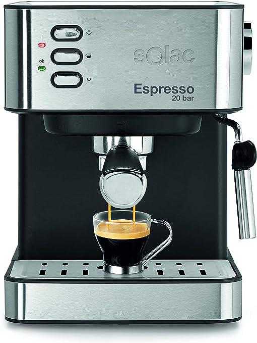 SOLAC CE4481-ESPRESSO - Máquina de café en cápsulas de café molido CE4481, 20 bar, 2 en 1, acero inoxidable, negro: Amazon.es: Hogar