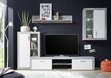 Merlo - Parete da soggiorno, cemento / bianco d\'imitazione con ...