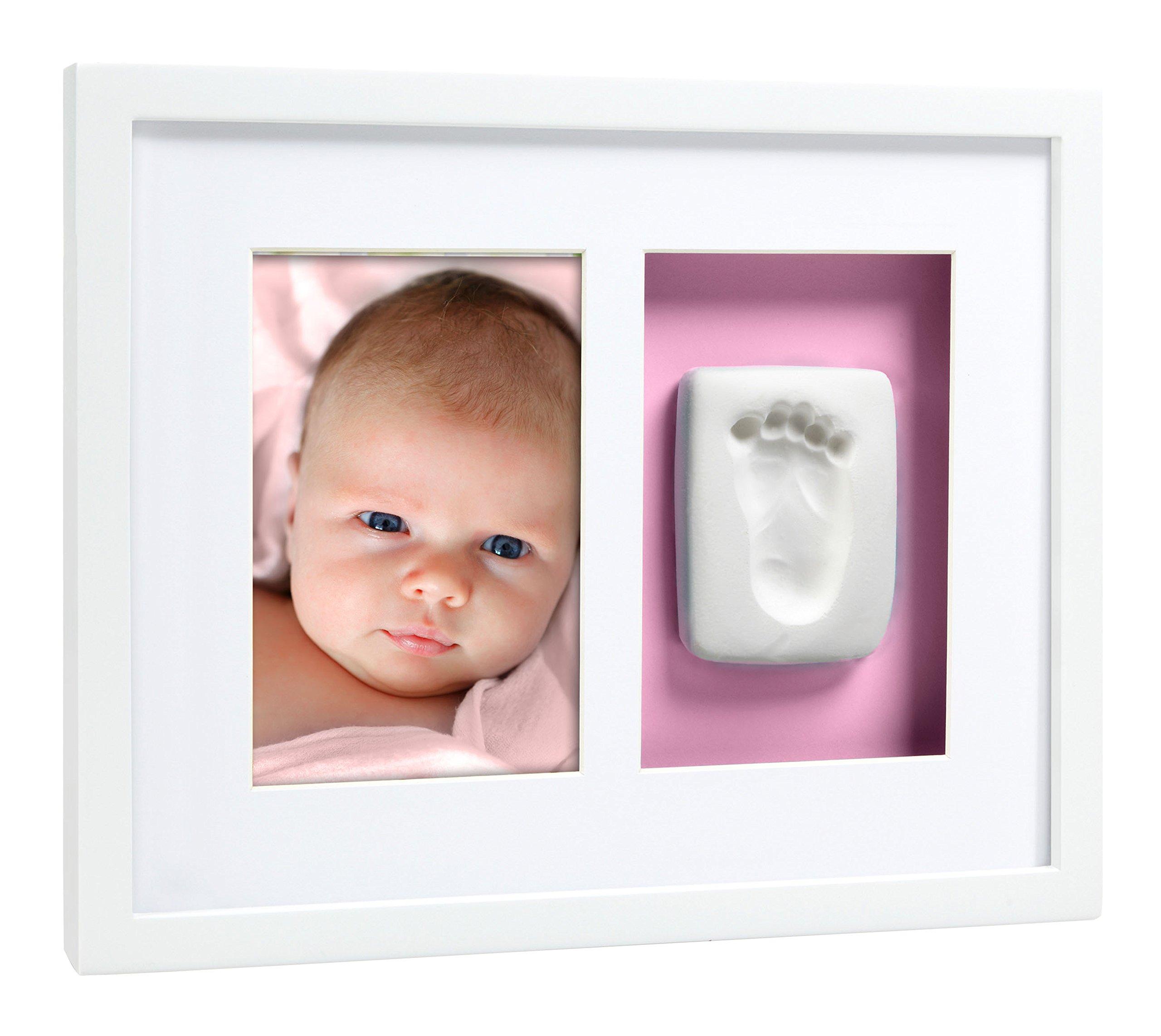 Pearhead Babyprints Baby Handprint or Footprint Wall Photo Frame & Impression Kit, White