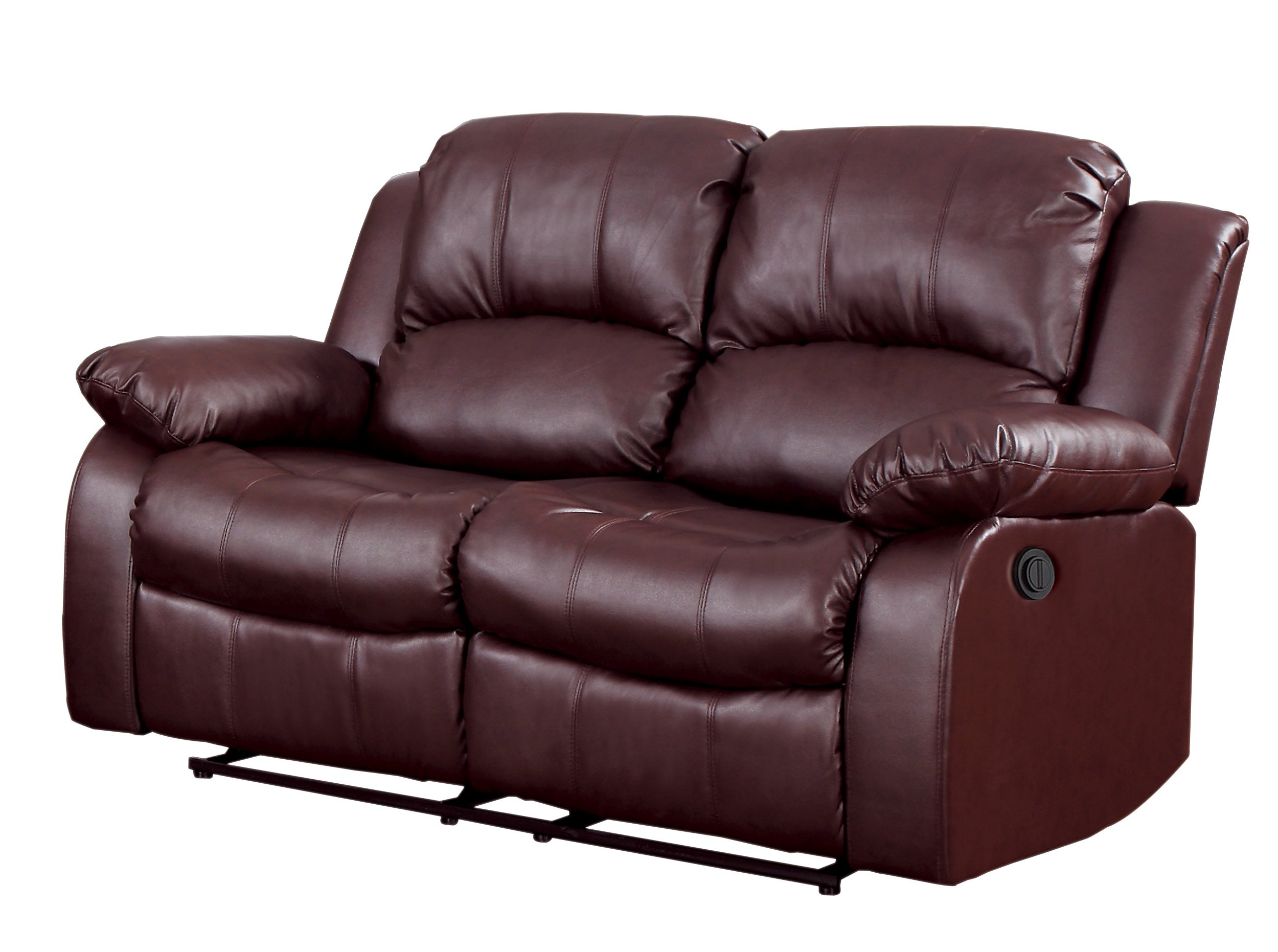 Homelegance 9700BRW-2PW Plushy Rolled Tufted Power Reclining Motion Bonded Leather  Love Seat, Brown