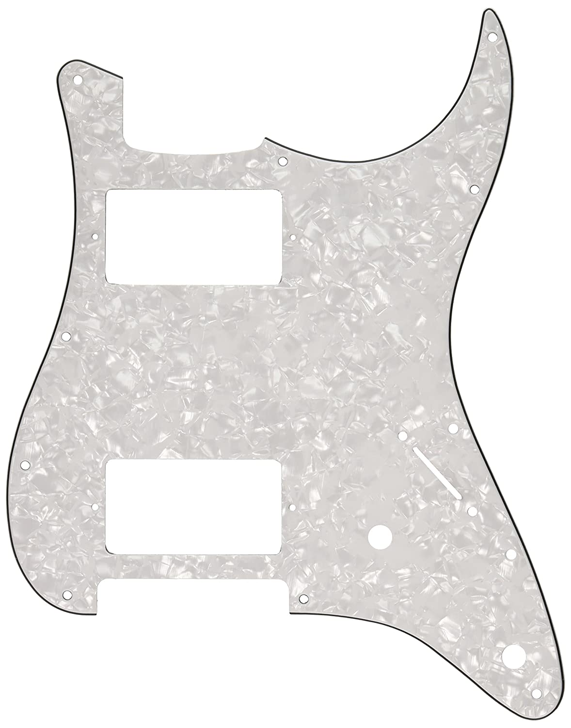 Kmise MI0136 Guitar Pickguard HH 3 Ply White Pearl for Fender Strat Replacement