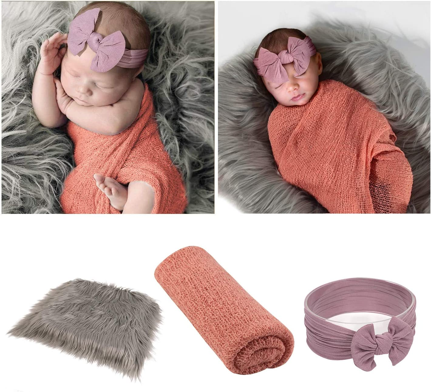 Rug Photo Props Faux Fur Sleeping Blanket  Toddler Swaddle     Baby Wrap