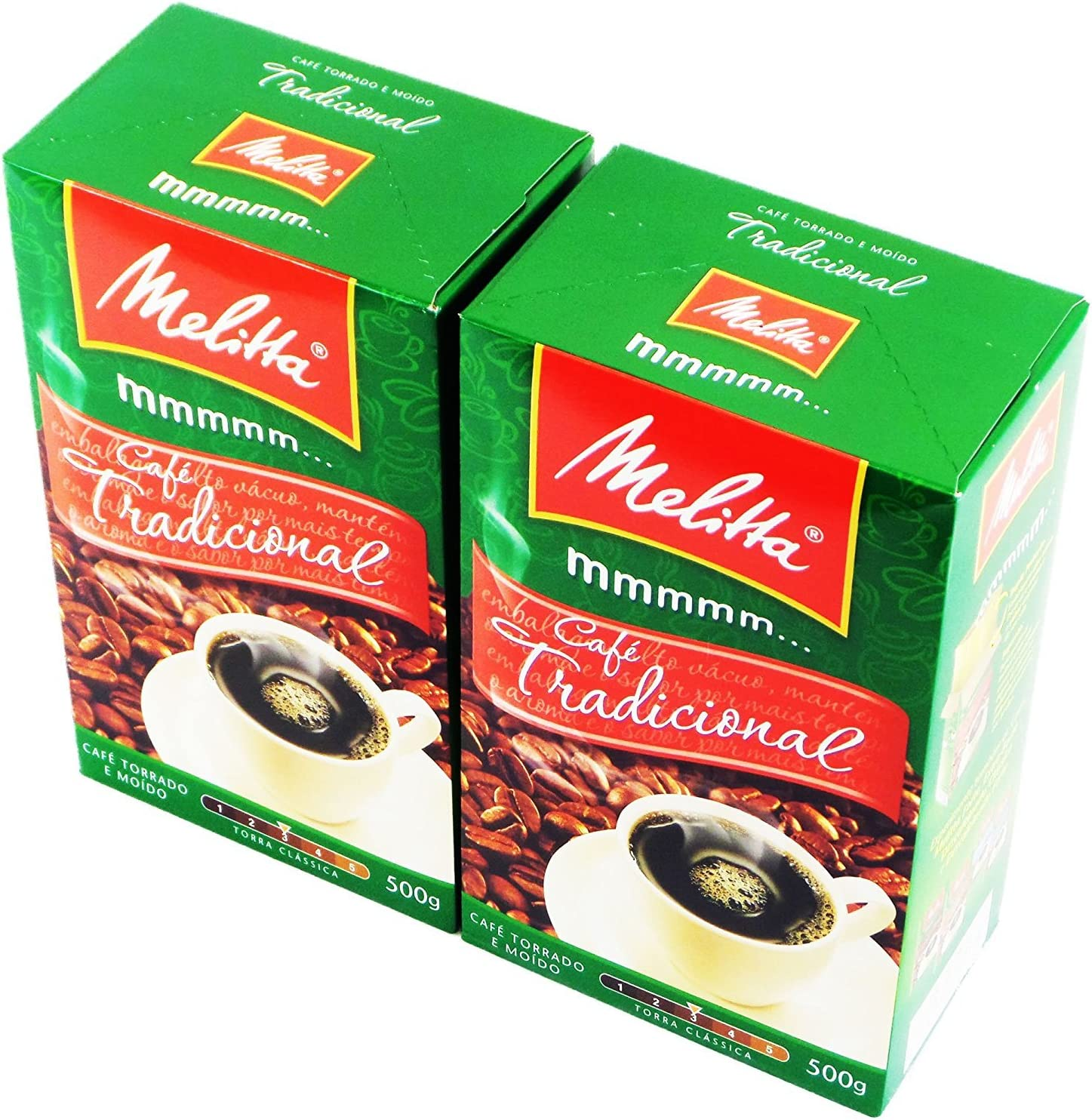 Melitta - Traditional Roasted Coffee - 17.6 oz (PACK OF 02) | Melitta Café Torrado e Moído Tradicional - 500g