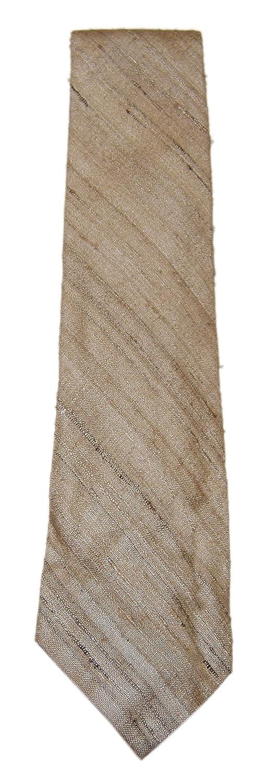 Polo Ralph Lauren Mens Silk Linen Dress Tie Handmade USA Plaid Tan Beige Brown