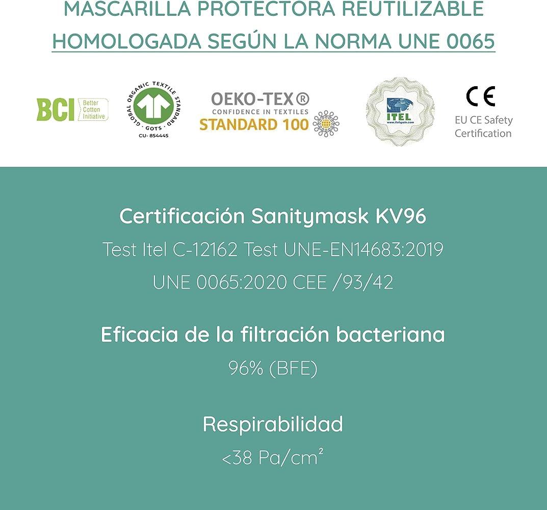 SanityMask KV96 Mascarilla protectora lavable-reutilizable certificada 96% protección: Amazon.es: Ropa y accesorios