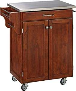Create-a-Cart Cherry 2 Door Cabinet Kitchen Cart with Stainless Steel Top by Home Styles
