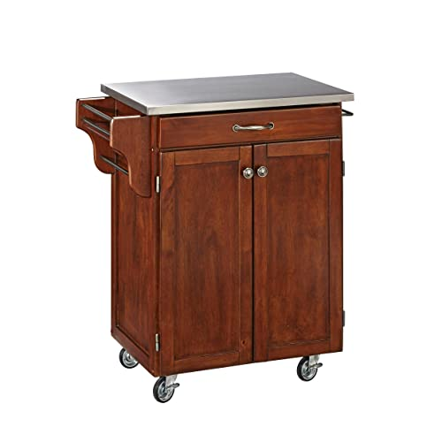 Home Styles Mobile Create-a-Cart Cherry Finish Two Door Cabinet Kitchen Cart with Stainless Steel Top, Adjustable Shelving