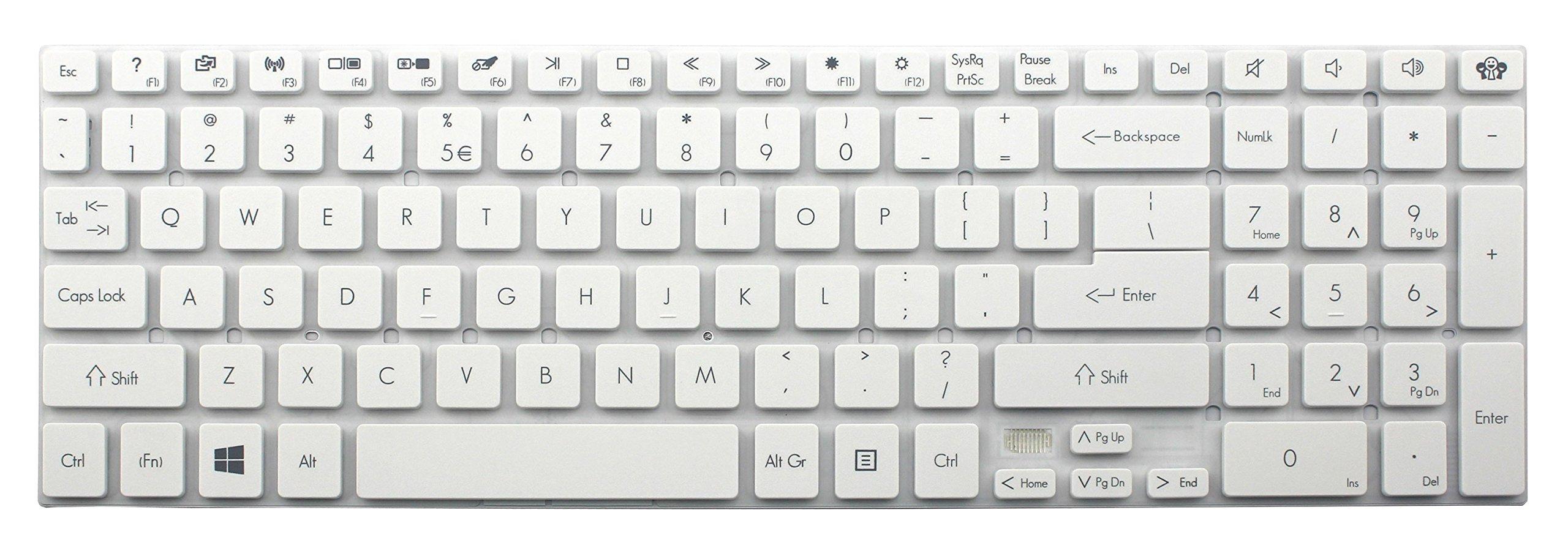 CHNASAWE Laptop US White Keyboard without Frame for Gateway NV76R NV76R02h NV76R03h NV76R06u NV76R16u NV76R23u NV76R24u NV76R25u NV76R29u NV76R30u NV76R31u NV76R32u NV76R38u NV76R44u NV76R45u NV76R47u