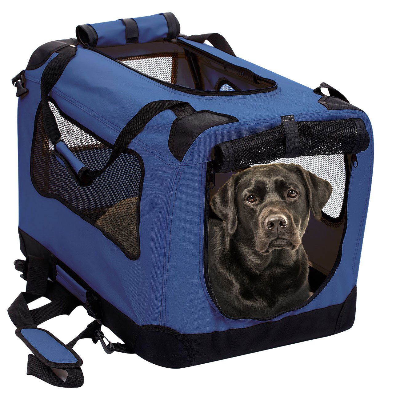 Bonny bluee XXLarge 36in2PET Foldable Dog Crate  Soft, Easy to Fold & Carry Dog Crate for Indoor & Outdoor Use  Comfy Dog Home & Dog Travel Crate  Strong Steel Frame, Washable Fabric Cover, Frontal Zipper Large bluee