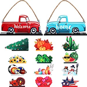 Christmas Sign Truck Welcome Home Sign Interchangeable Table Centerpieces with 12 Wooden Decorative Sign Double Print for Holiday Hanging Christmas Ornaments Table Decoration Valentines All Festival