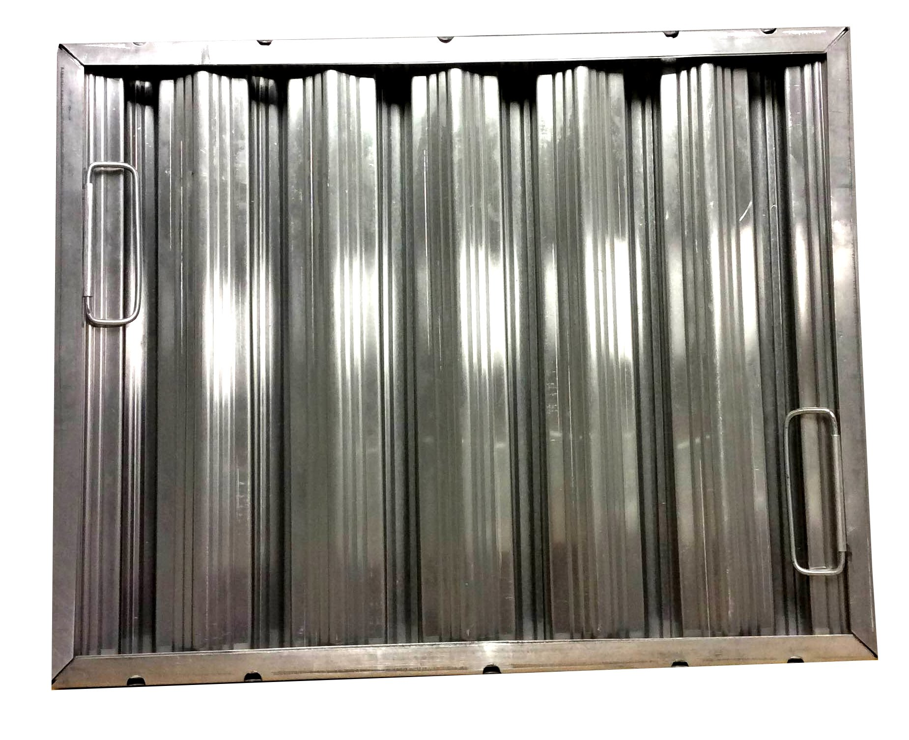 16'' tall x 20'' wide x 2'' Trine Heavy Duty Aluminum Restaurant Hood Baffle Filter (Dual Riveted / Ridged Baffle)