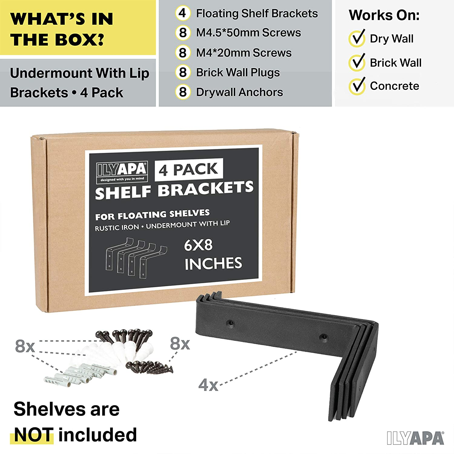 Heavy Duty Steel Floating Shelf Brackets, Undermount Bracket With Lip- Farmhouse Rustic Iron Matte Finish - 4 Pack of 6 x 7.25 Inch Industrial Metal Shelf Holders, Joint Angle Brackets for Wall Shelve: Home Improvement