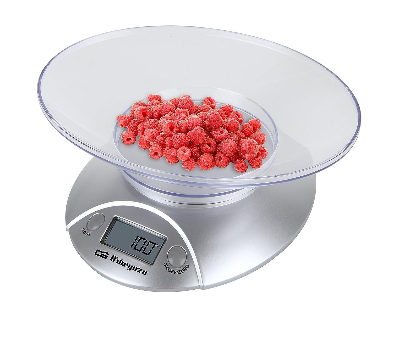 Orbegozo PC1009 - Báscula electrónica para cocina, bol transparente, máximo 3 kgs, color plateado PC 1009