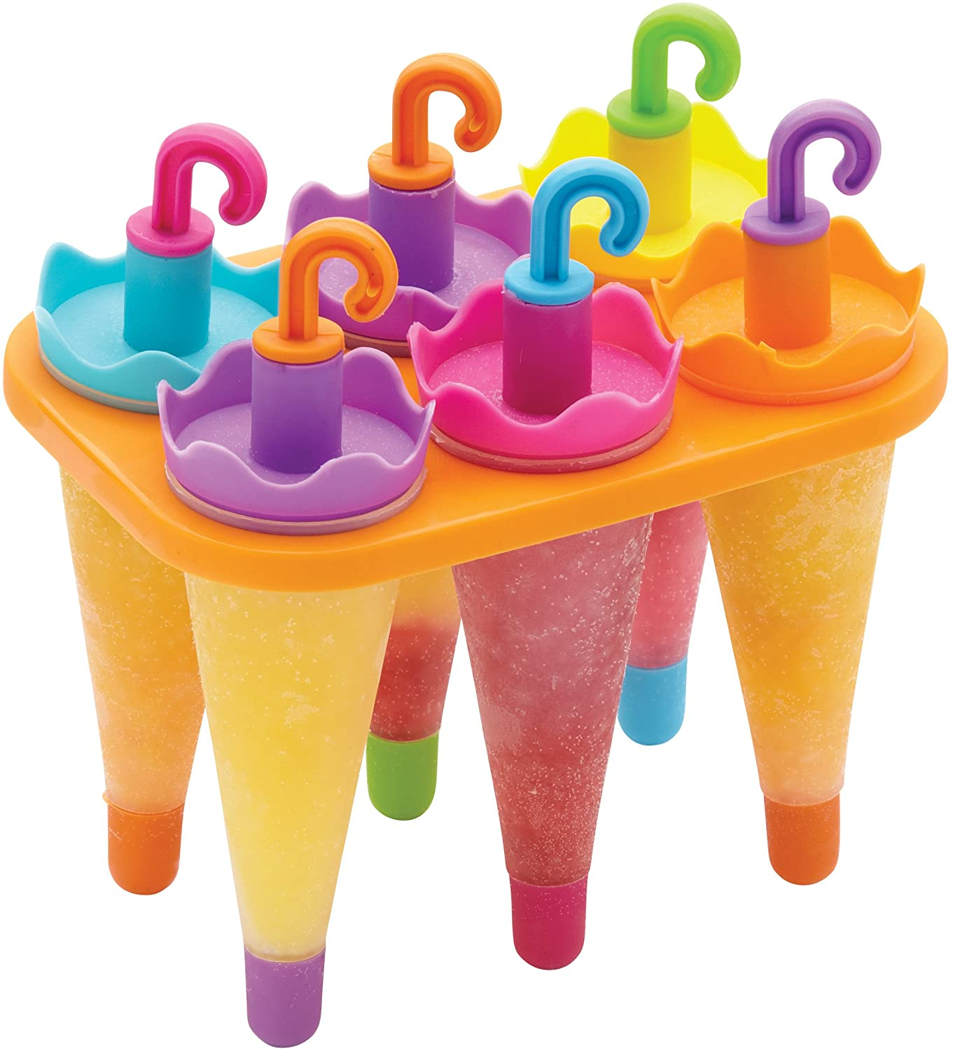 Set Of 4 Umbrella Ice Lolly Mould Colourful Kids Ice Lolly Maker Mould Lolly Pop