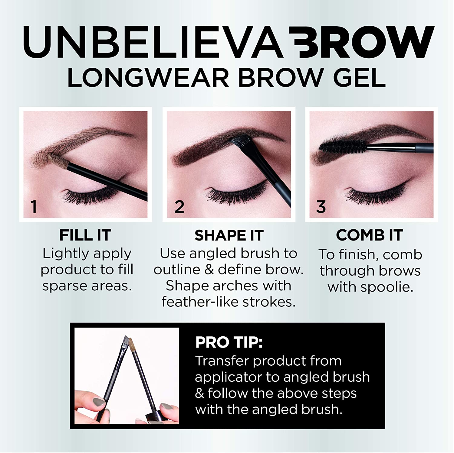 52fdb2d129af Amazon.com: L'Oreal Paris Unbelieva-Brow Tinted Brow Makeup, Longwear,  Waterproof Brow Gel, Sweat Resistant, Transfer Proof, Fills and Thickens  Brows, ...