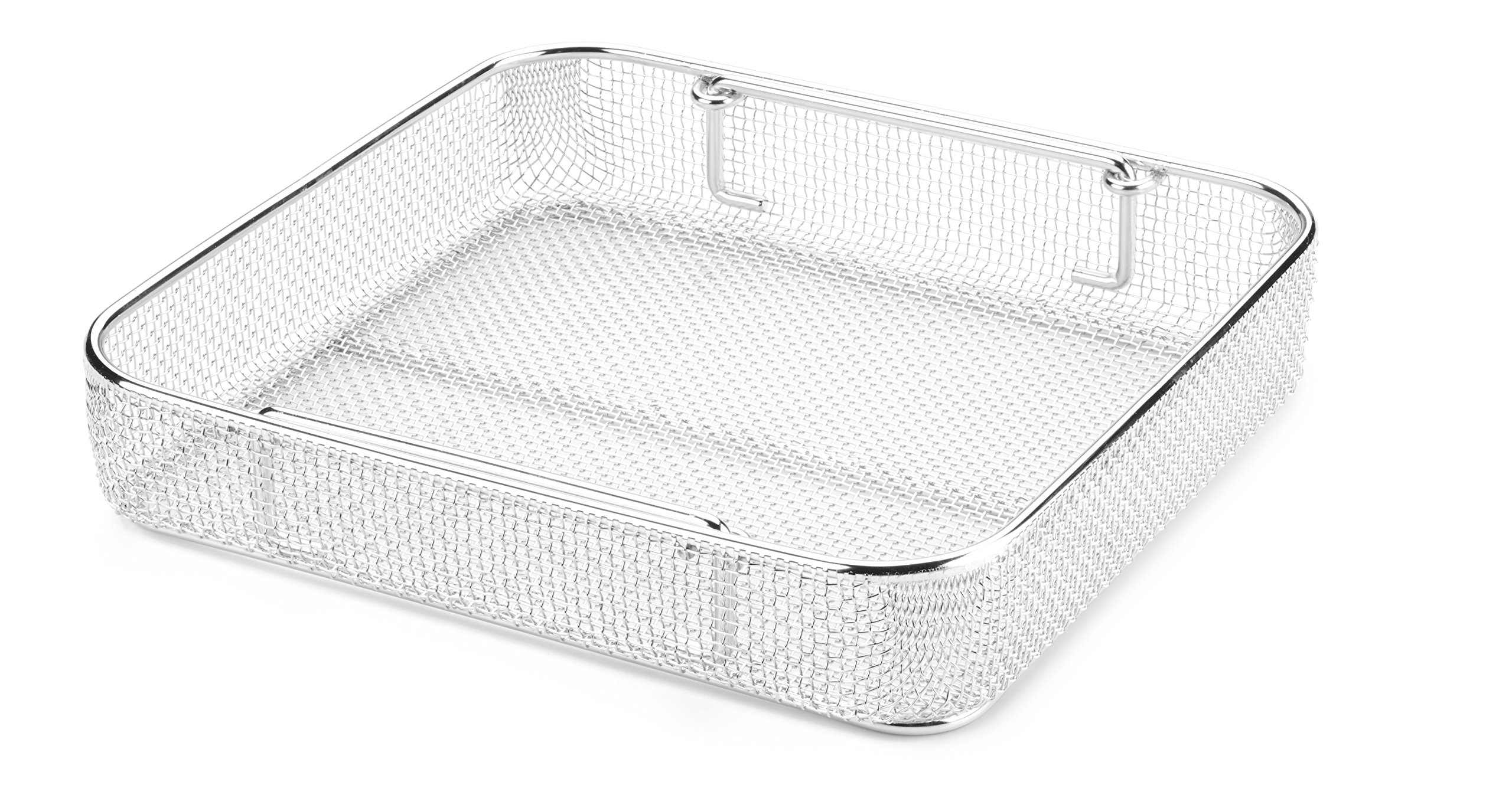Key Surgical MT-9101 Micro Mesh Tray with Drop Handles, Stainless Steel, 250 mm x 240 mm x 50 mm