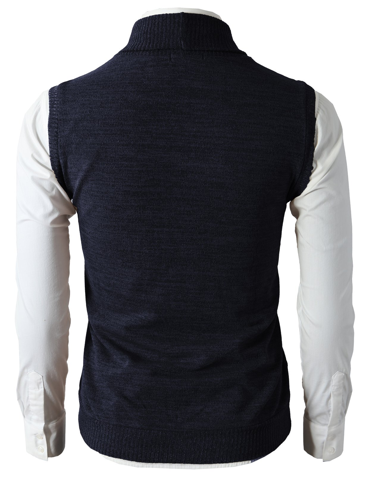 H2H Mens Casual Basic Shawl Collar Fine Knitted Slim Fit Vest Navy US L/Asia XL (CMOV034) by H2H (Image #3)