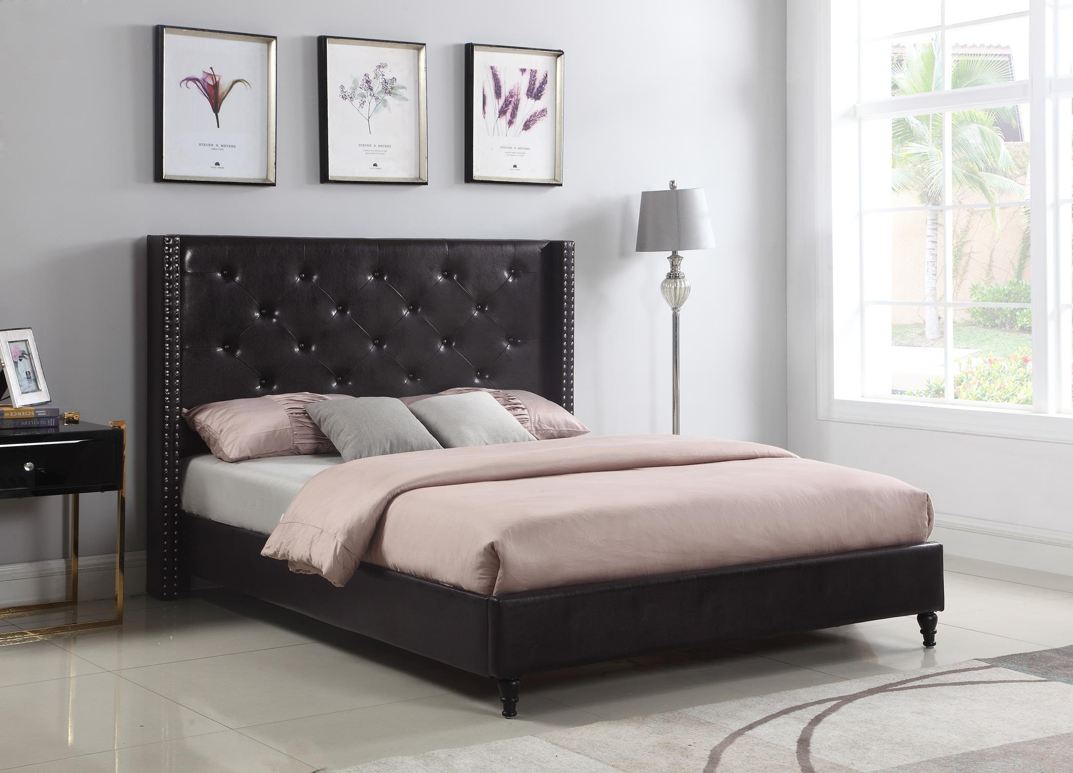 Home Life Premiere Classics Leather Dark Brown Tufted with Nails Leather 51'' Tall Headboard Platform Bed with Slats Full - Complete Bed 5 Year Warranty Included 007