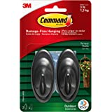 Command Outdoor Medium Terrace Hooks, Black, 3 lb Capacity, Water-Resistant Strips, 2 hooks, 4 strips, Decorate Damage…
