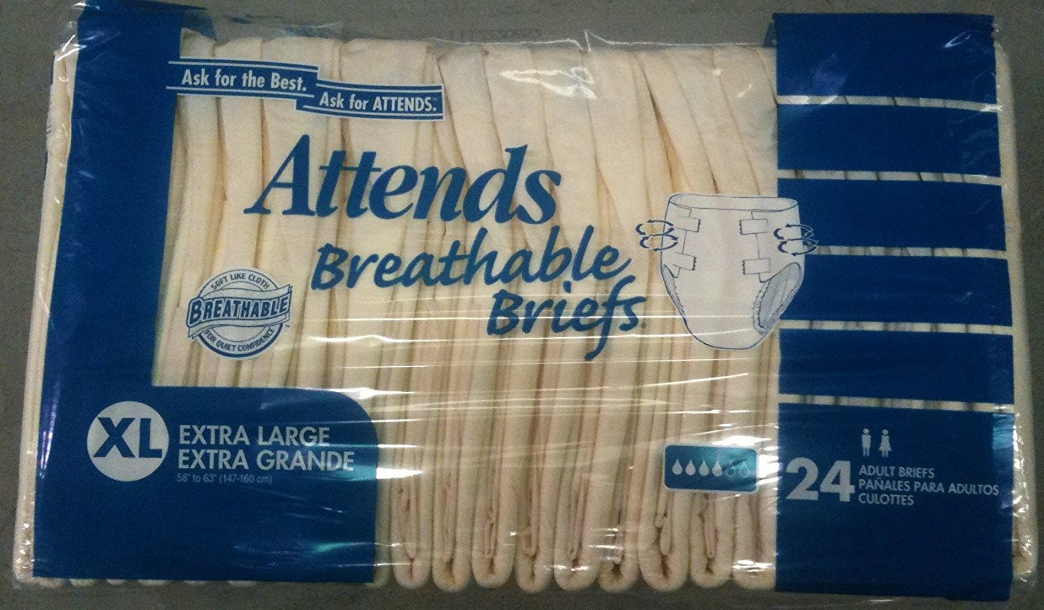 Amazon.com: Attends Breathable Briefs X-Large 58