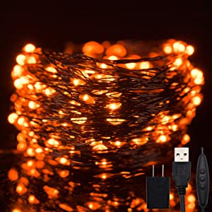 Twinkle Star 200 LED 66ft Halloween Fairy String Lights USB & Adapter Powered, Dimmable Control Starry Black Wire Lights Home Lighting Indoor Outdoor Bedroom Wedding Christmas Party Decoration, Orange