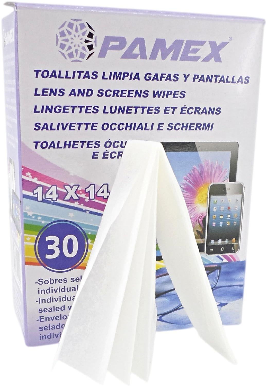 PAMEX Toallitas Húmedas 60 Sobres Unidades Individuales Limpia Pantallas Cristales Tablets Moviles Gafas Lentes: Amazon.es: Electrónica