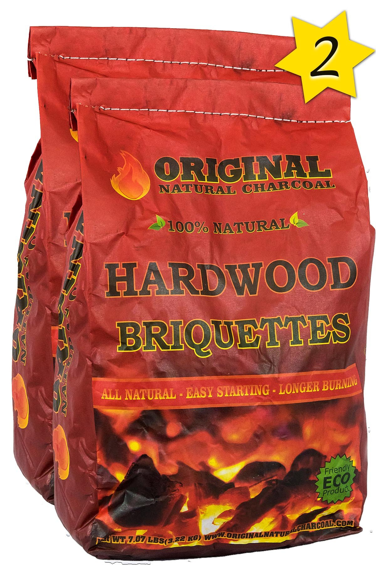 Original Natural Charcoal Hardwood Briquettes 2 X 100% Premium All-Natural Pillow Shaped Charcoals - Lights Easy, Burns Quickly, Adds Extra Flavor to Meats - 100% (7.07 lb.) by Original Natural Charcoal