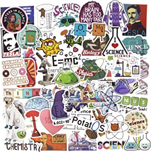 Funny Student Science Stickers, 50PCS Lab Stickers Physics Chemistry Biology Experiment Stickers Laptop Stickers Water Bottle Stickers for Teens Vinyl Decals Luggage Computer Skateboard Stickers
