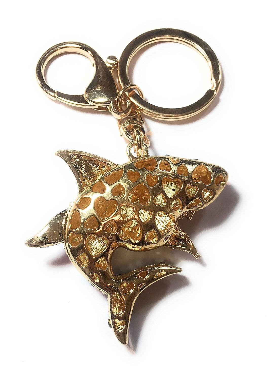 FizzyButton Gifts Shark Llavero con dise/ño de tibur/ón Color Azul y Dorado