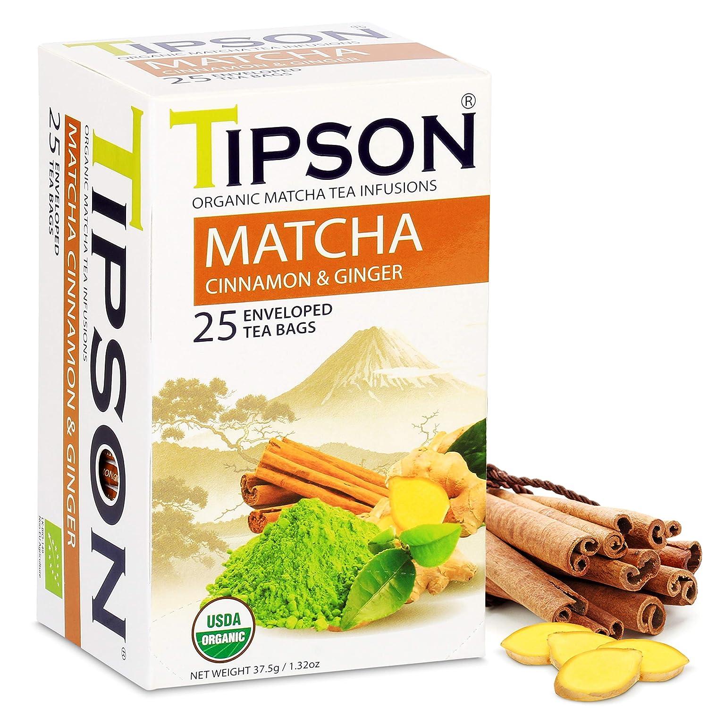 Tipson Organic Matcha Green Tea - Organic Cinnamon And Organic Ginger - 25 Foil Enveloped Double Chambered Bags - Antioxidant Benefits - Energy ...