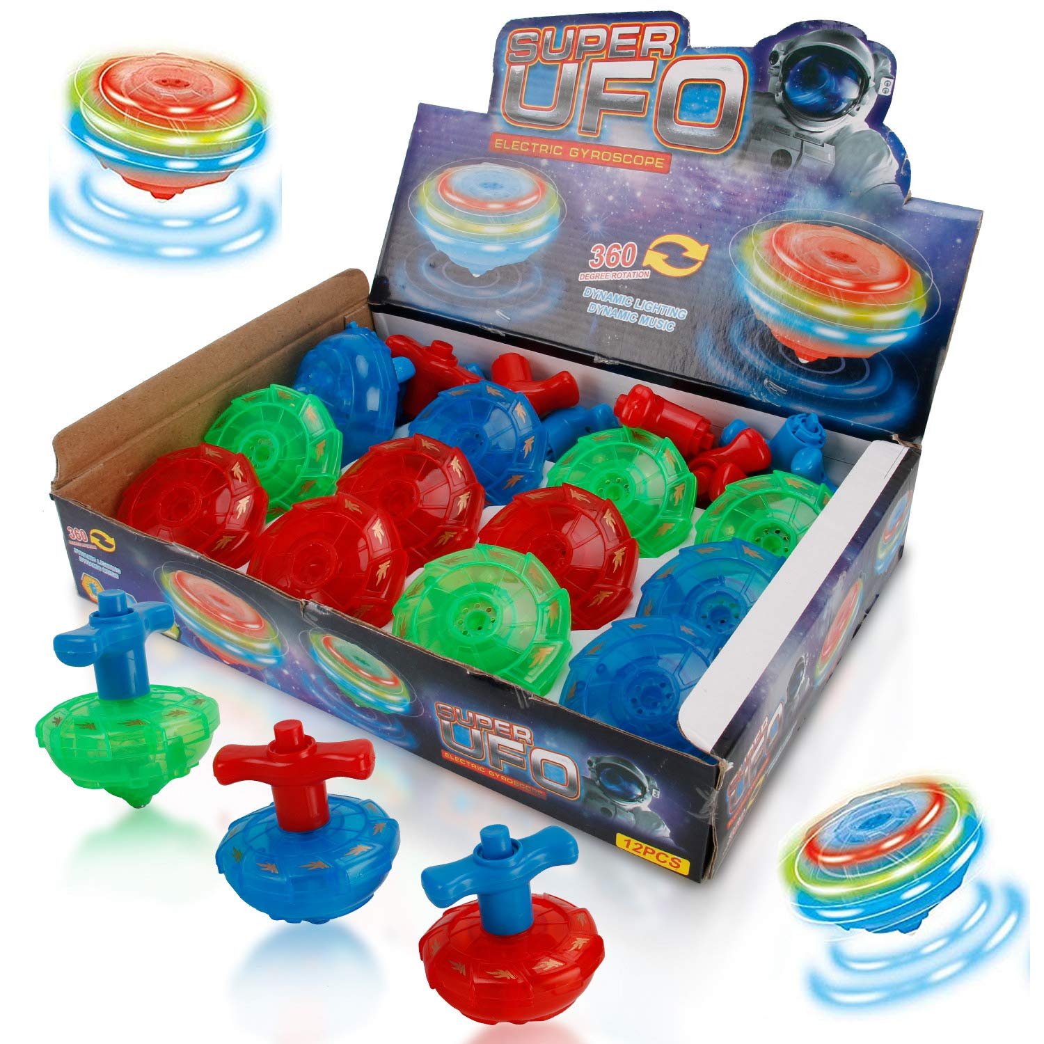 Liberty Imports 12 Pack LED Light Up Flashing UFO Spinning Tops with Gyroscope Novelty Bulk Toys Party Favors NO Music